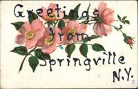 Springville NY Floral Greeting c1910 Postcard