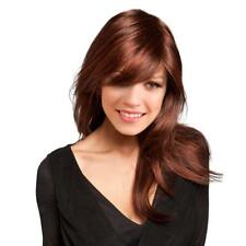 Natural Long Straight Synthetic Hair Wigs with Cap Bang for Women Copper Red