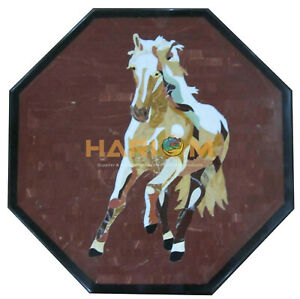 "18"" Marble Coffee Table Top Jasper Mosaic Horse Art Inlay Living Room Decor B236"