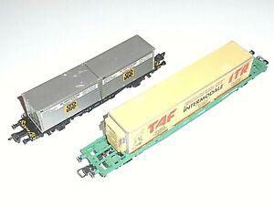 Lot JOUEF FLEISCHMANN 5235 Wagons Porte Container FRET SNCF Train électrique HO