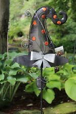 """Halloween Witch Hat Yard Stake Solar Powered Metal Glass 42"""" H"""