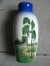 Vase Faience Art Nouveau Peint à la Main Bouleaux Plupart Bord de Route Um 1910