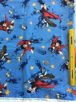 BTFQ Harry Potter Cotton Fabric Fat Qtr 18 x 22 Quiddich Flying Blue glitter FQ