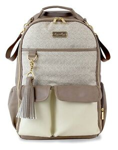 Itzy Ritzy Boss Baby Diaper Bag Backpack Changing Pad Vanilla Latte NEW