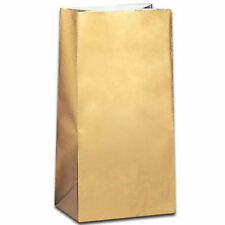 10 Gold Paper Gift Bags - Empty Loot/Party/Wedding/Kids