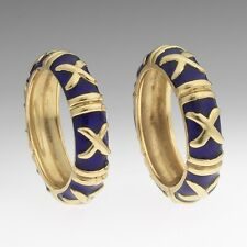 Pair of 18K Gold and Blue Enamel Hidalgo-Style Bands - Stacking Rings - Sz 6.25