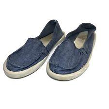 Sanuk Women's 8 Blue White Lightweight Summer Fabric Slip On Casual Shoes Flats