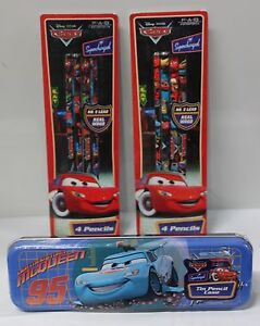 3-SET CARS PENCIL CASE & PENCILS Disney Pixar Lightning McQueen School Supplies