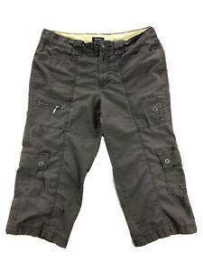Eddie Bauer Mercer Fit Womens 12 Gray Ripstop Cargo Crop Capri Pants