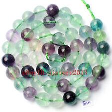"8mm Natural Mixed Fluorite Round Shape DIY Gemstone Loose Beads Strand 15"""