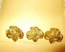 THREE GIRL SCOUT TRADITIONAL MEMBERSHIP TREFOIL PINS