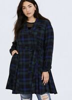 Womens Torrid Blue & Green Plaid Twill Fit & Flare Trench Coat Size 0 12 L NWT