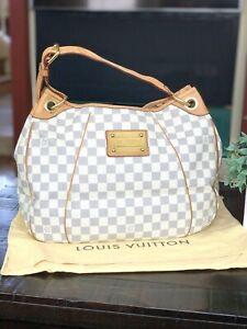 LOUIS VUITTON Damier Azur Galleria PM Shoulder Bag Authentic Large Hobo France