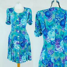 90s Grunge Pleated Button Down Blue Floral Dress Summer - UK 8 10 Small/Medium