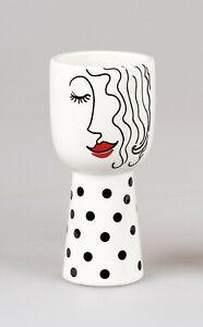 Formano Vase Faces Pflanzgefäß Dekogefäß weiß schwarz edel modern