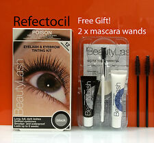 Refectocil Eyelash Eyebrow BeautyLash Tint Kit - Black + mascara wands