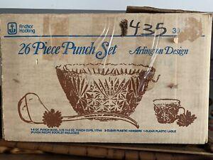 Vintage Anchor Hocking 26 Piece Punch Bowl Set Arlington Design