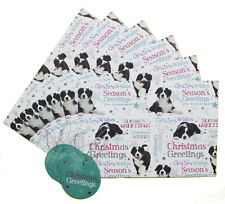 Border Collie Breed of Dog Christmas Wrapping Gift Paper 6 Sheets & 6 Tags