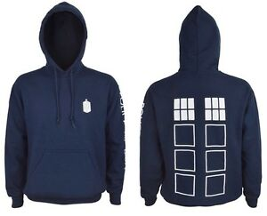DR DOCTOR WHO - TARDIS POLICE  HOODIE HOODED TOP SWEATSHIRT - OFFICIAL BBC