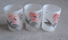 "Lot of 3 Anchor Hocking Hand Painted Flowers Votive Candle Holders 3"" Tall"