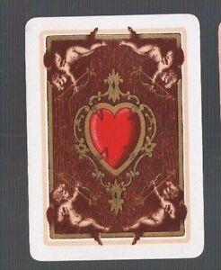 Swap Playing Cards 1 WIDE VINT ENG  VALENTINE HEART CHERUBS & ARROWS  MINT 127EW