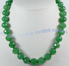Stunning 10mm Green Emerald Faceted Round Gemstone Beads Necklace 16-20 Inches