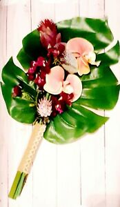 Wedding Bouquet  tropical bouquet Hawaiian bouquet  orchids monstera