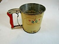 Vintage Androck Hand-I-Sift 3 Screen Flour Sifter Red With Flowers Made in USA