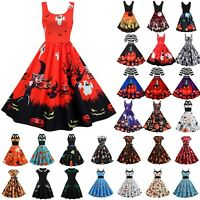Womens Ladies Witch Pumpkin Ghost Scary Skater Dress Halloween Party Fancy Dress