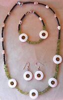 "Apache Peridot nugget & Shell donuts 23"" Necklace 8¼"" Bracelet 1½"" Earring Set"