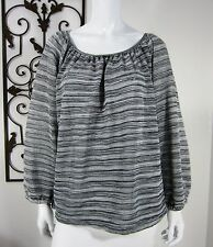 UNLISTED A Kenneth Cole Production Long Sleeve Blouse Size XL Black White