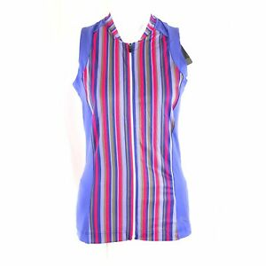 GORE Womens Cycling Singlet Power Striped Full Zip Pockets Colorful Size M