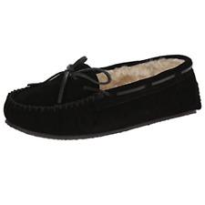 Minnetonka Womens Black 100% Leather w/ Synthetic sole Faux Fur Slippers US 7.5