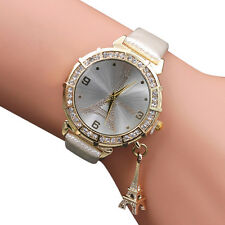 Women Quartz Wrist The Eiffel Tower Rhinestone  pendant Wrist Watch White