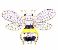 Gold tone yellow and black enamel and crystal bee brooch