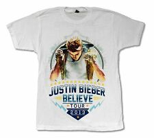 JUSTIN BIEBER MIC TOUR 2013 WHITE T SHIRT NEW OFFICIAL ADULT MEDIUM