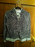 Zenergy By Chico's sz 1 Velour Fleece Leopard Animal Hoodie Jacket Grey Black