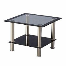 Seconique - Harlequin Living Room Lamp Table Clear & Black Glass & Chrome Legs