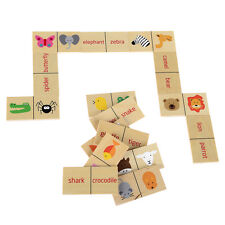 Wooden Dominoes Game Educational Toy # Fun Learning Animal Names