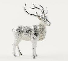 "180 Degrees 5"" Silver Sculpted Resin Stag Deer Christmas Village Figure Ornament"