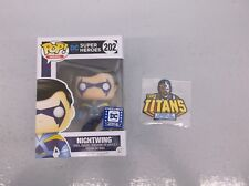 Funko Nightwing Pop 202 + Cyborg Patch New Teen Titans Dc Legion Of Collectors