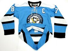 Mens Pittsburgh Penguins CROSBY Fight Strap Stitched Reebok NHL Hockey Jersey 48