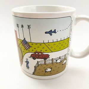 Vtg Taylor Ng Mugs Farm Scenes 1980 Cows Pigs Coffee Cups Gentleman Farmer A131