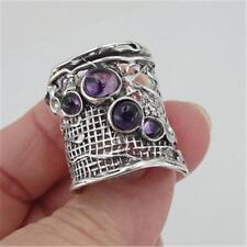 Hadar Designers 925 Sterling Silver Amethyst Ring Handmade sz 6,7,8,9,10 (H 144)