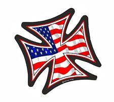 IRON CROSS & American Stars & Stripes US Flag Biker car Helmet Sticker 95mm
