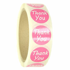 """Pink """"Thank You"""" Labels Stickers - 1"""" diameter - 500 ct Roll - SL087F"""