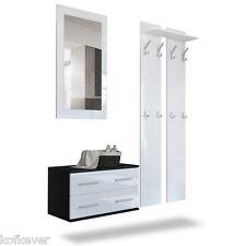 Entrata Kira nera e bianca cassettiera specchio appendiabiti ingresso moderno