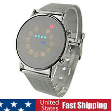 Red Yellow Green Blue LED Light Stainless Steel Fashion Sport Style Wrist Watch