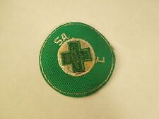 Vintage Red Cross Flawed Embroidered Iron On Patch Green White