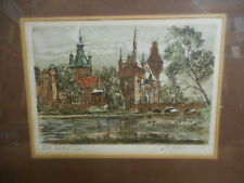 Vintage Hand Colored Copper Plate Etching by Marianne Almasy
